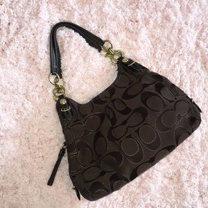 RARE Chocolate & Gold Fabric Authentic Coach Purse